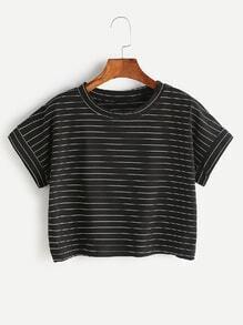 Schwarzes Nadelstreifen-Ernte-T-Shirt