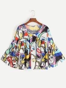 Mehrfarbige Graffiti Print V Neck Bell Sleeve Bluse