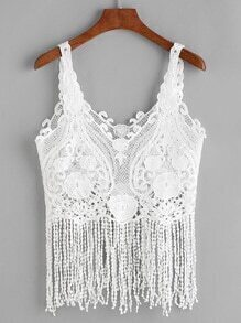 White Crochet Lace Fringe Hem Tank Top