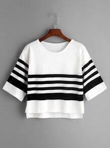 White Striped Slit Side High Low Knit T-shirt