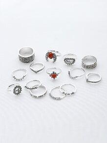 Ensemble d'anneaux vintage en pierre rouge et blanc turquoise