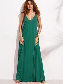 Doppel langes Kleid ärmellos V-Ausschnitt - Grün