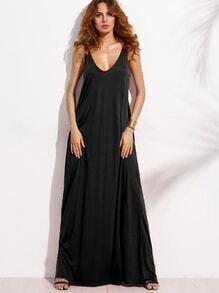 langes Kleid Doppel-V-Ausschnitt ärmellos - schwarz