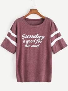 Slogan Print Varsity Striped Sleeve T-shirt