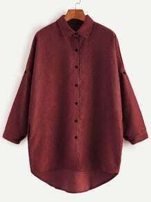 Burgunder-Schulter-hohes Niedriges Hemd