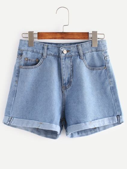Bleu clair Cuffed Denim Shorts