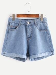 Light Blue Cuffed Denim Shorts