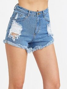 Frayed Roll Hem Distressed Denim Shorts