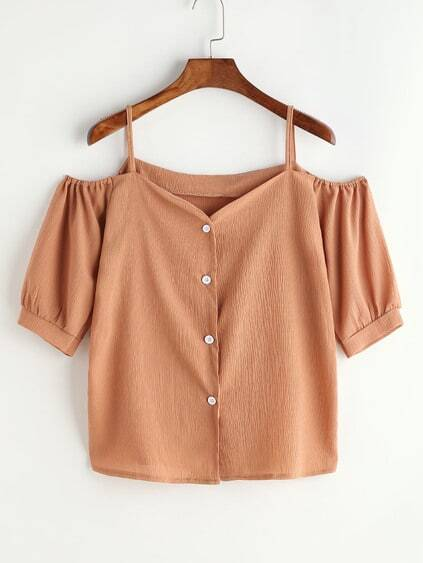 Cold Shoulder Button Front Top