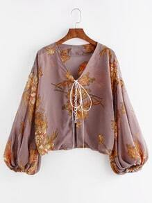 Floral Print Bishop Sleeve Lace Up Front Top