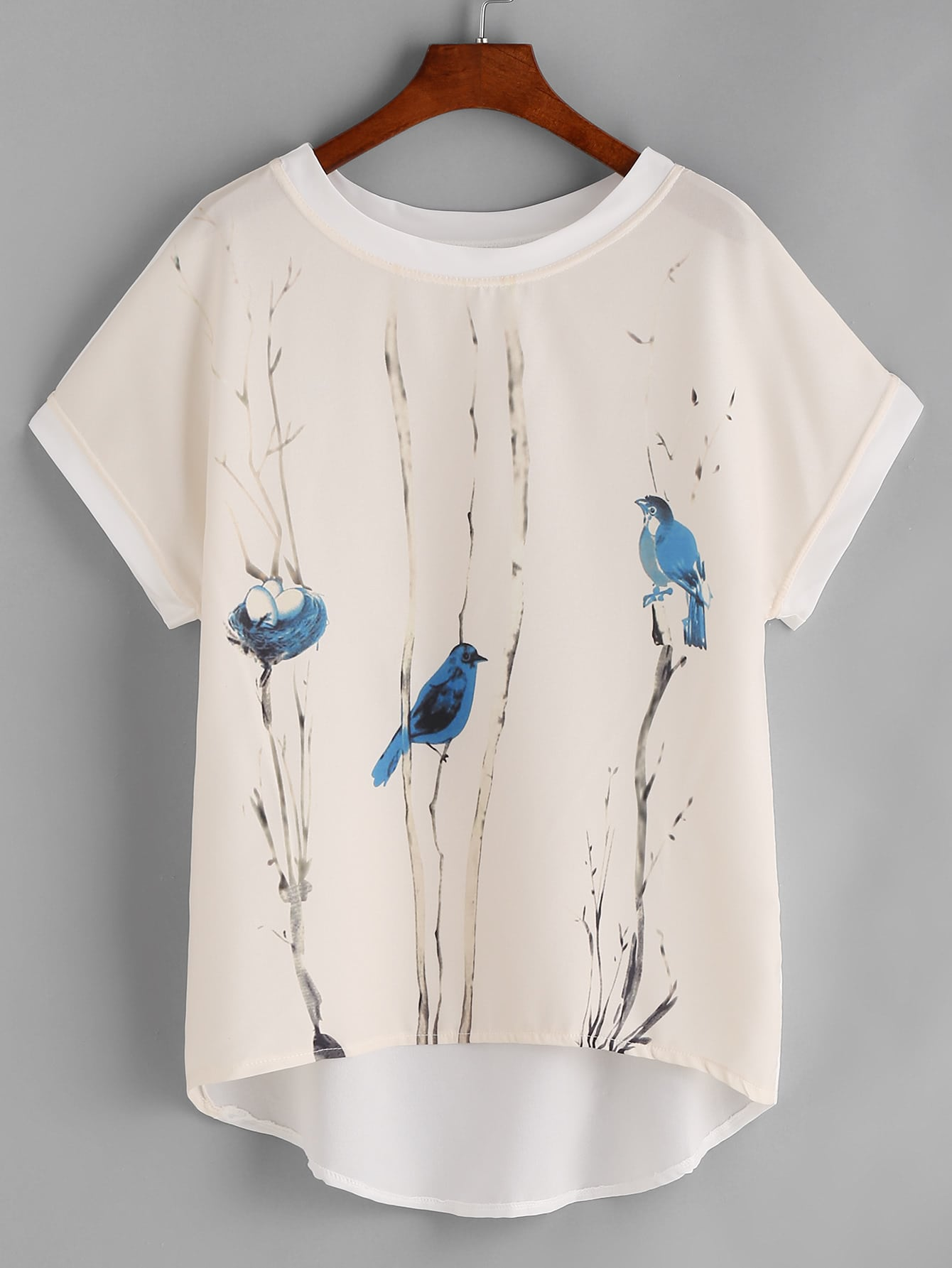 Graphic Print Contrast Trim Dip Hem Chiffon Top blouse170328103