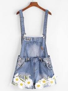 Embroidered Appliques Cuffed Denim Overall Shorts