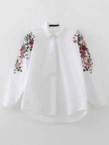 White Flower Embroidery High Low Blouse
