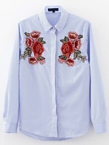 Blue Flower Embroidery Vertical Striped Blouse