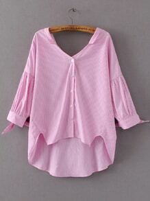Blouse rose à rayures verticales