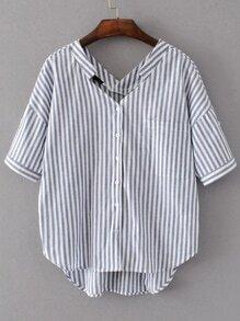 Weiß und Grau Vertikal gestreift Doppel V-Ausschnitt Hoch Niedrige Bluse