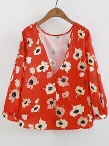 V-Ausschnitt Blumendruck Single Breasted Bluse