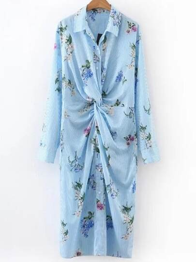 Blue Vertical Striped Floral Shirt Dress