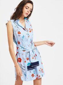 Vestido camisero de rayas con estampado de flor con cordón - azul