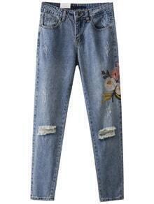 Blaue Blumenstickerei zerrissene Detail-Denim-Hosen