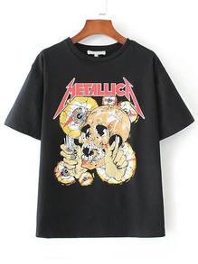 T-shirt imprimé crânien