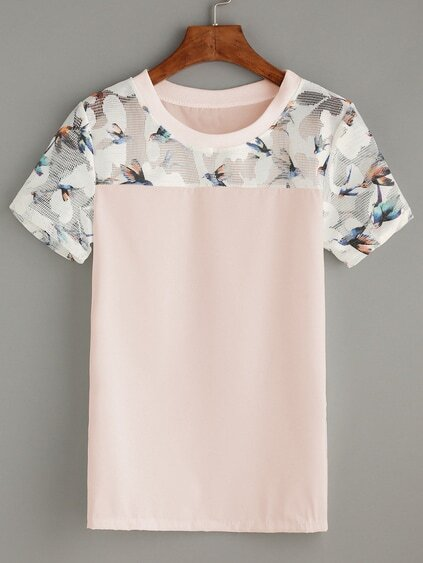 Bird Print Mesh Insert Top