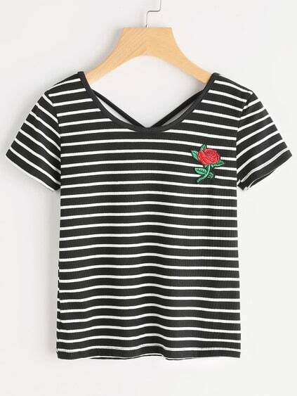 Striped Rose Embroidered Criss Cross Back Tshirt
