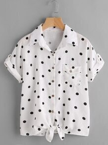 Textured Dots Tie Front Cuffed Shirt With Chest Pocket