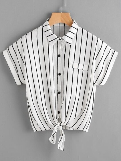 Vertical Striped Tie Front Shirt