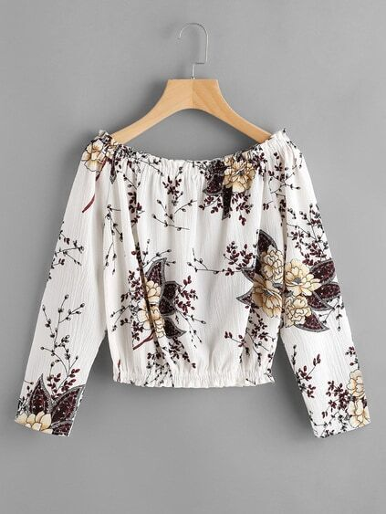 Boat Neckline Shirred Floral Print Pleated Blouse