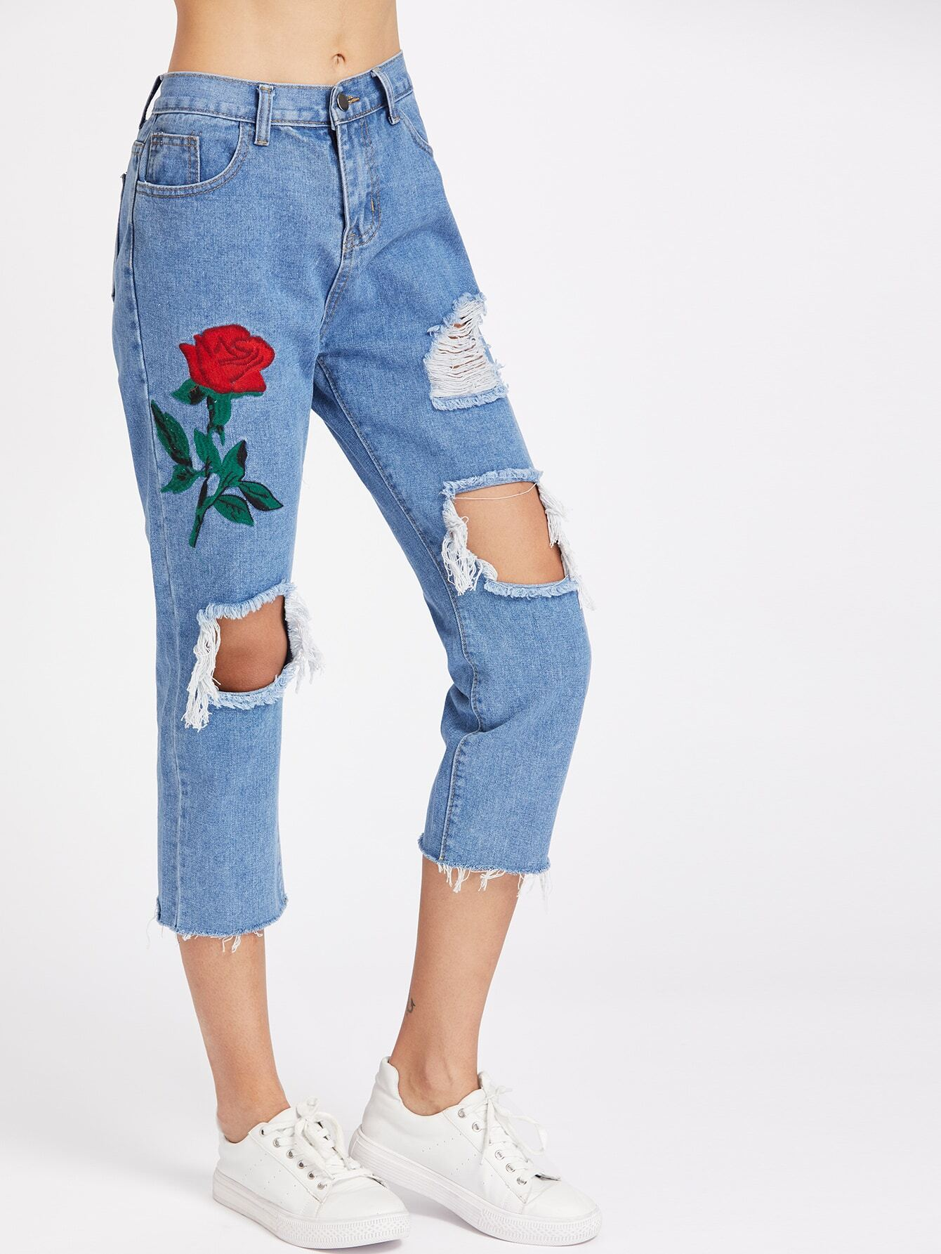 Rose embroidered destroyed jeansfor women romwe