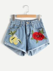 Embroidered Cuffed Shorts