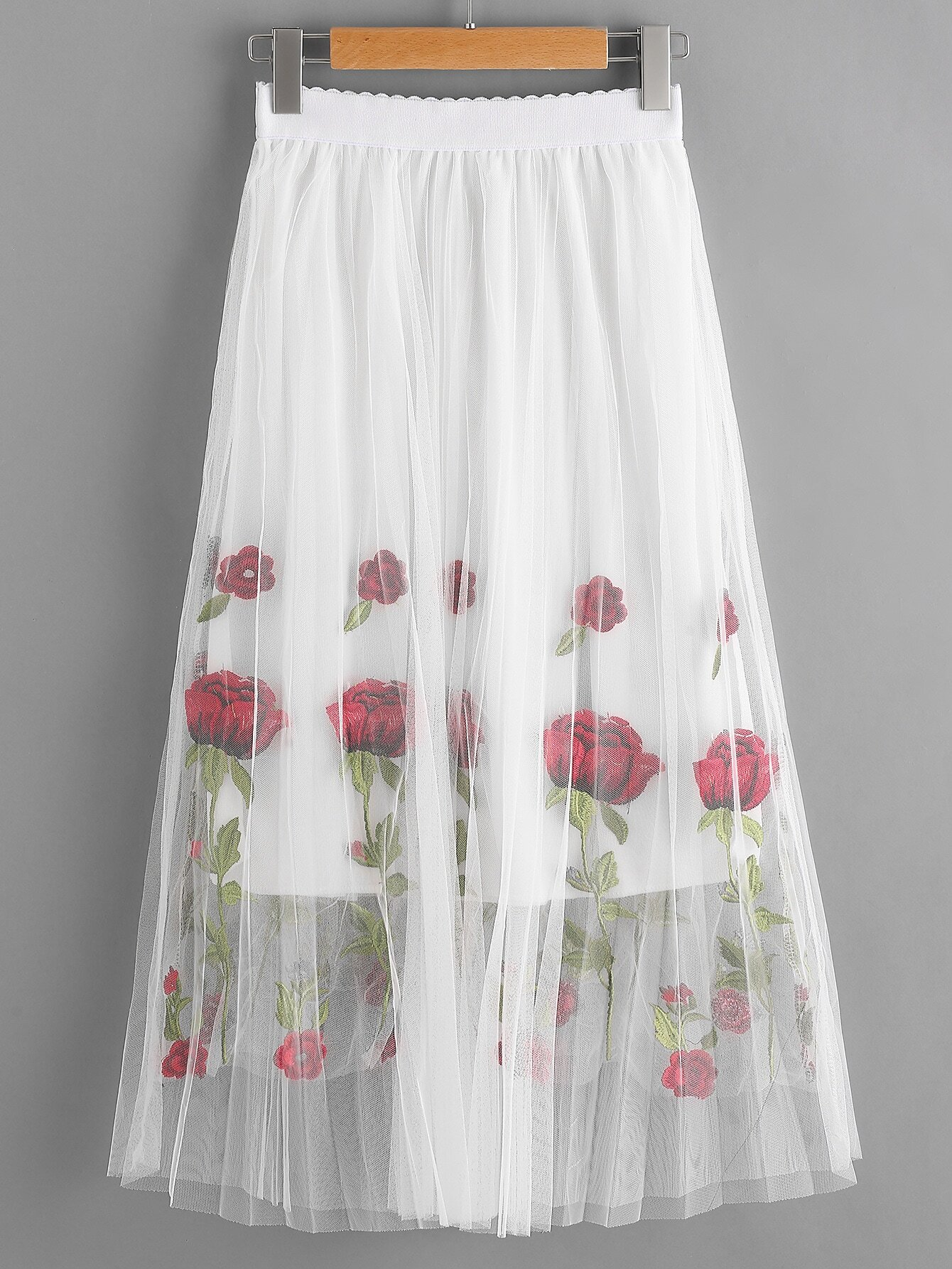 Rose Embroidered Layered Mesh Skirt