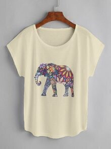 Camiseta de manga de casquillo con estampado de elefante