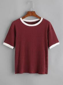 Contrast Trim Ribbed Tee