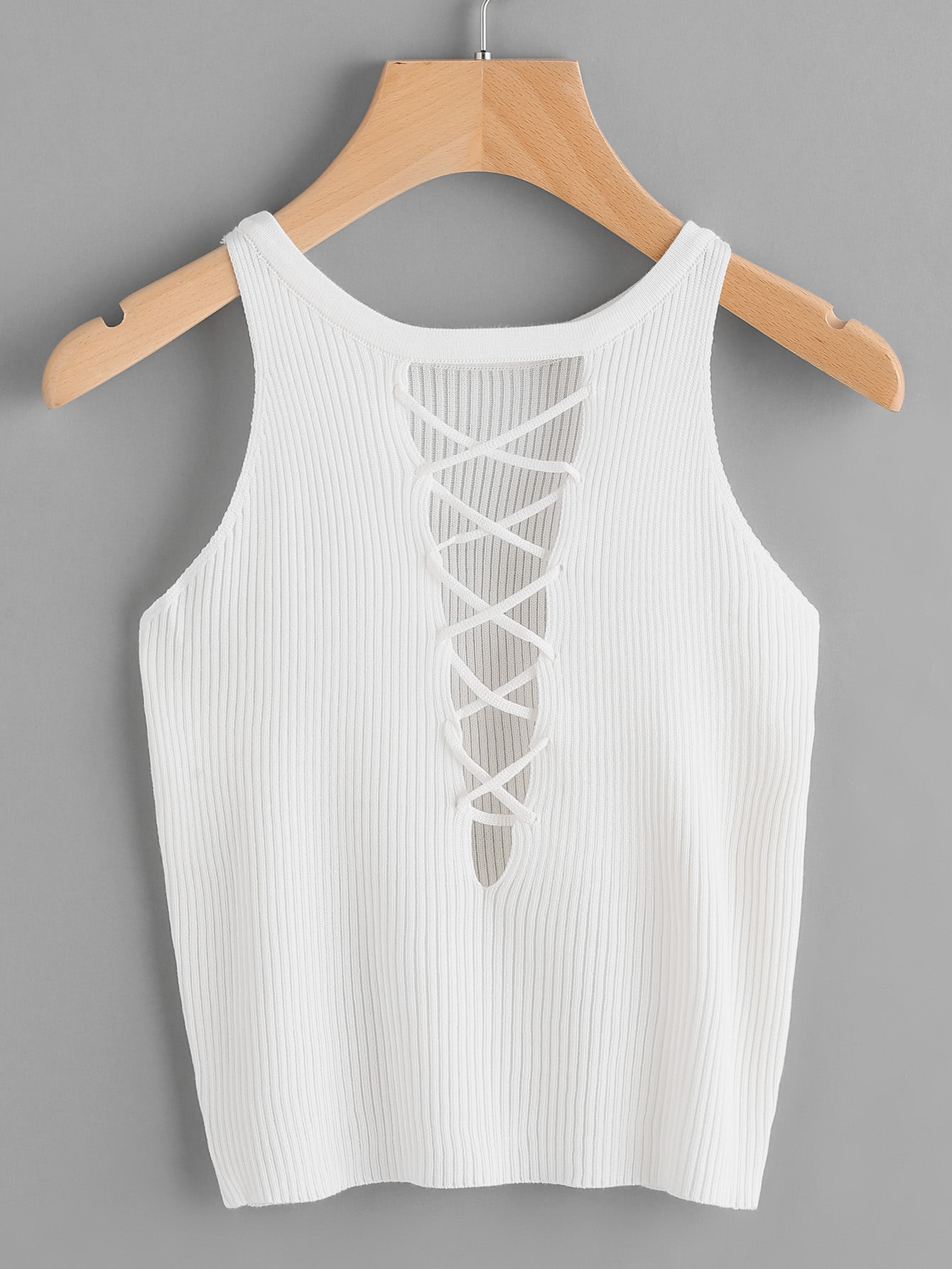 Lace Up Back Ribbed TopFor Women-romwe
