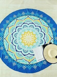 Manta playara redonda con estampado de flor de loto