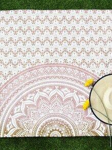 Manta playara con estampado de flor de loto