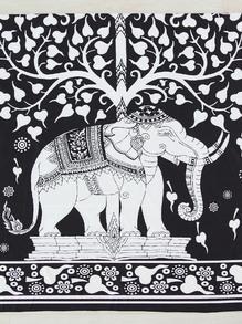 Manta playera con estampado de elefante-dos colores