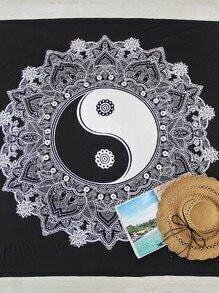 Manta playera cuadrada con estampado de Taiji y flor