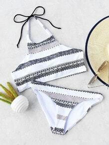 Graphic Print Halter Bikini Set
