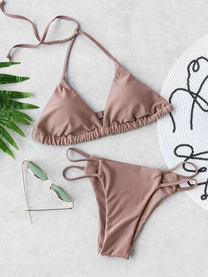 Buy Ladder Cutout Triangle Bikini Set