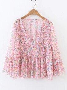 Blusa de gasa fruncido escote V con estampado floral