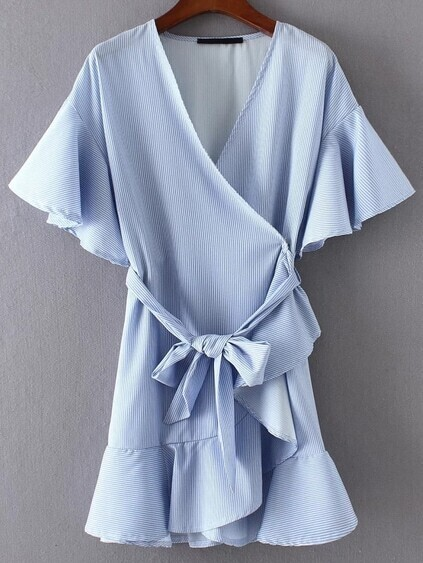 Bell Sleeve Ruffle Trim Wrap Dress With Self Tie