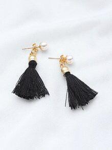 Faux Pearl Tassel Drop Earrings