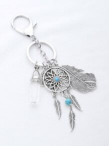 Leaf and Dreamcatcher Keychain