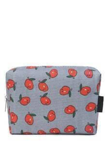 Fruits Print Zipper Up Sac cosmétique