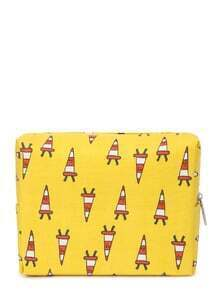 Graphic Print Zipper Up Cosmetic Bag