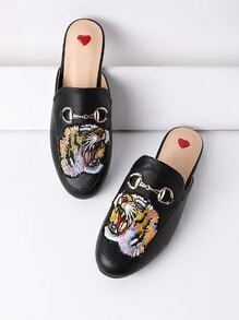 Tiger Embroidery Metal Detail Flat Mules