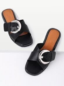 Cross Buckle Design Slip On Sandals